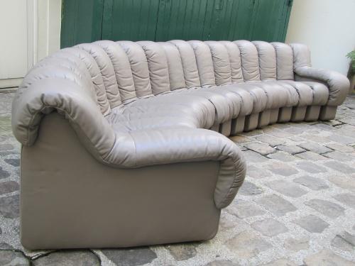 Canapé DS600, ed. de Sede, 18 elements, tout cuir, gris-beige