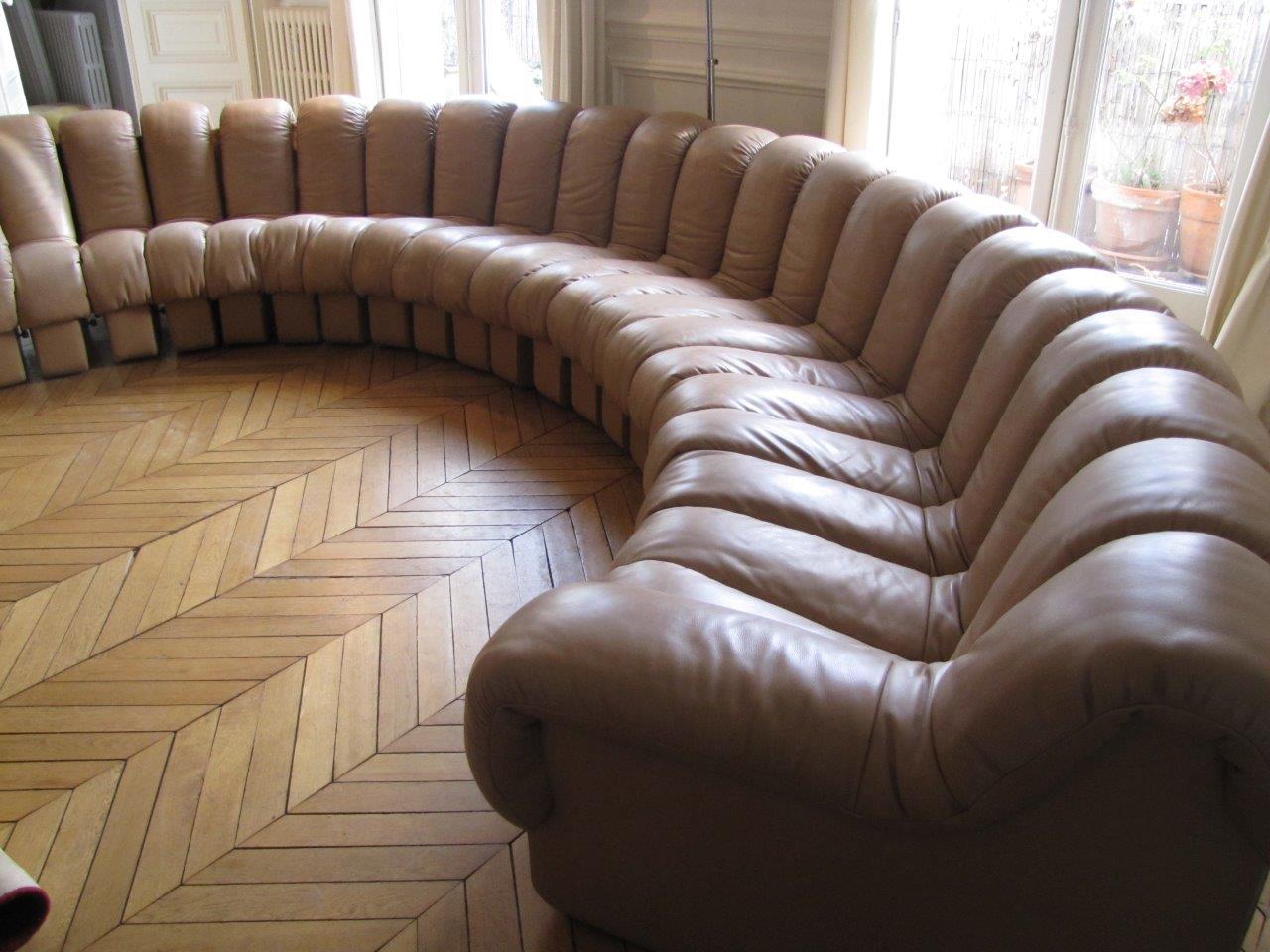 Canapé DS600, cuir naturel, 23 éléments - édition de Sede