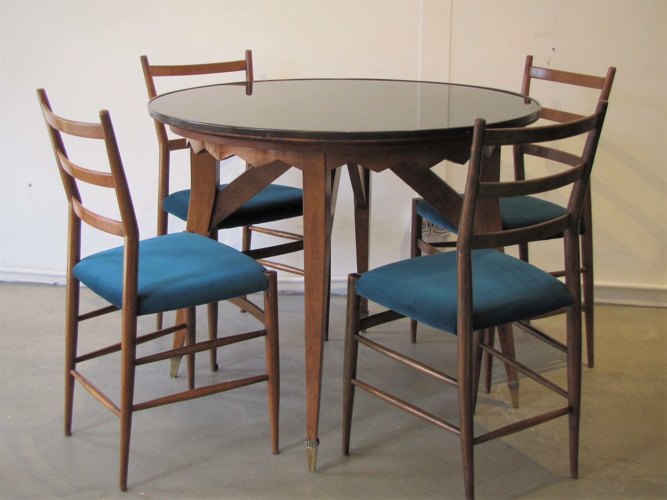 Table haute travail italien, dans le style de Paolo Buffa